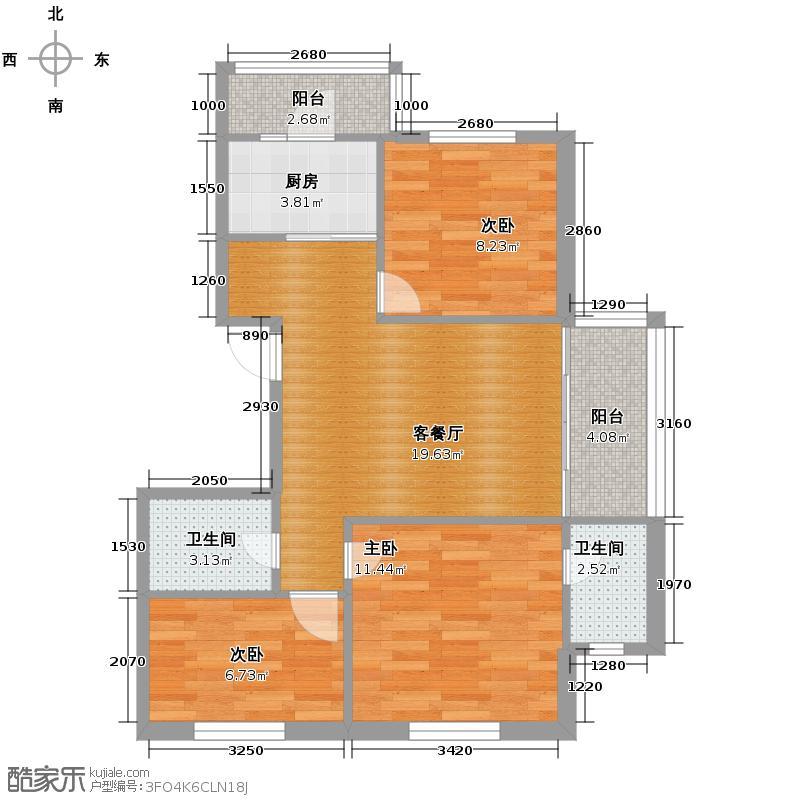 中北春城三期73.19㎡三居户型3室1厅2卫1厨