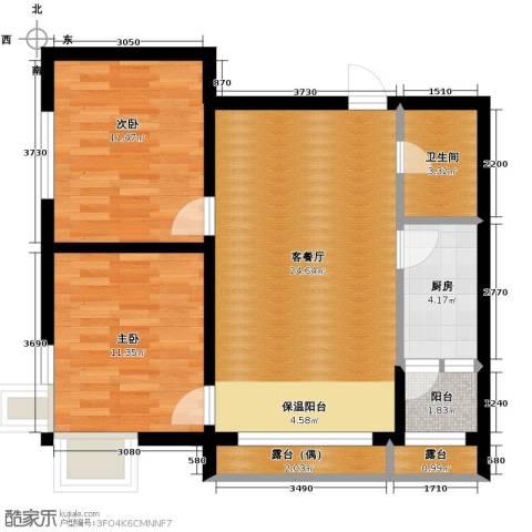 富达蓝山2室1厅1卫0厨59.80㎡户型图