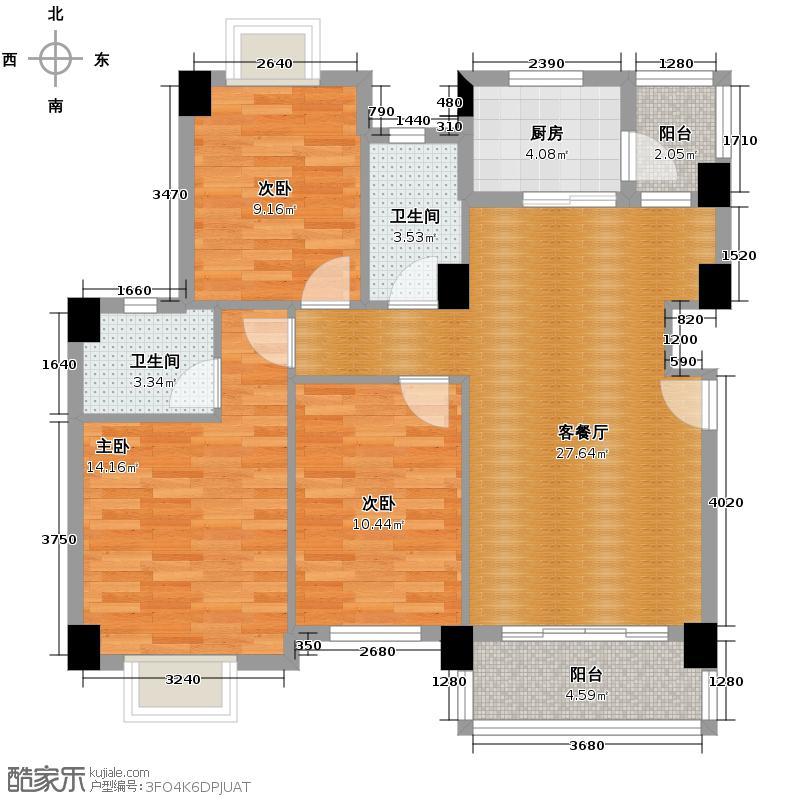 狮山阳光嘉园101.62㎡城宇名轩1座1层平面图户型3室2厅2卫