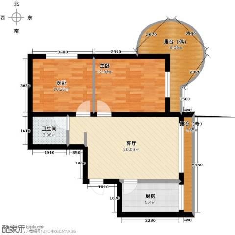 富达蓝山2室1厅1卫0厨62.61㎡户型图