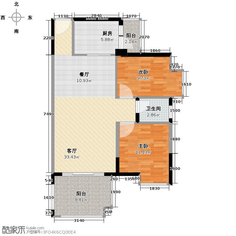 劲嘉金棕榈园83.83㎡10栋C座04单位户型2室2厅1卫