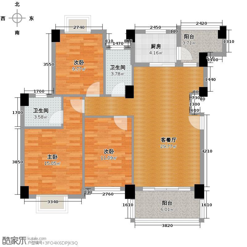 狮山阳光嘉园110.85㎡二期城宇名轩4座02单位户型3室2厅2卫