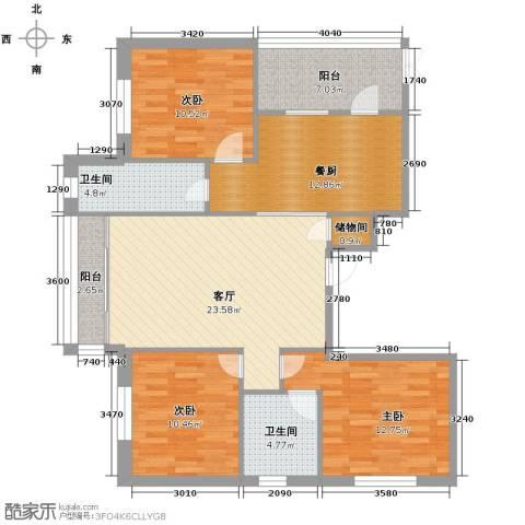 中北春城三期3室1厅2卫0厨96.00㎡户型图