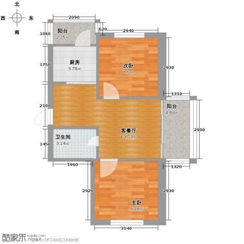 中北春城2室1厅1卫1厨52.00㎡户型图