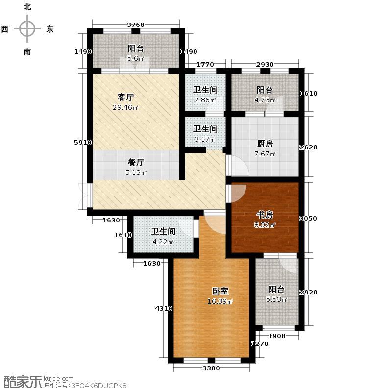 群力玫瑰湾5.00㎡G05预测户型2室2厅2卫