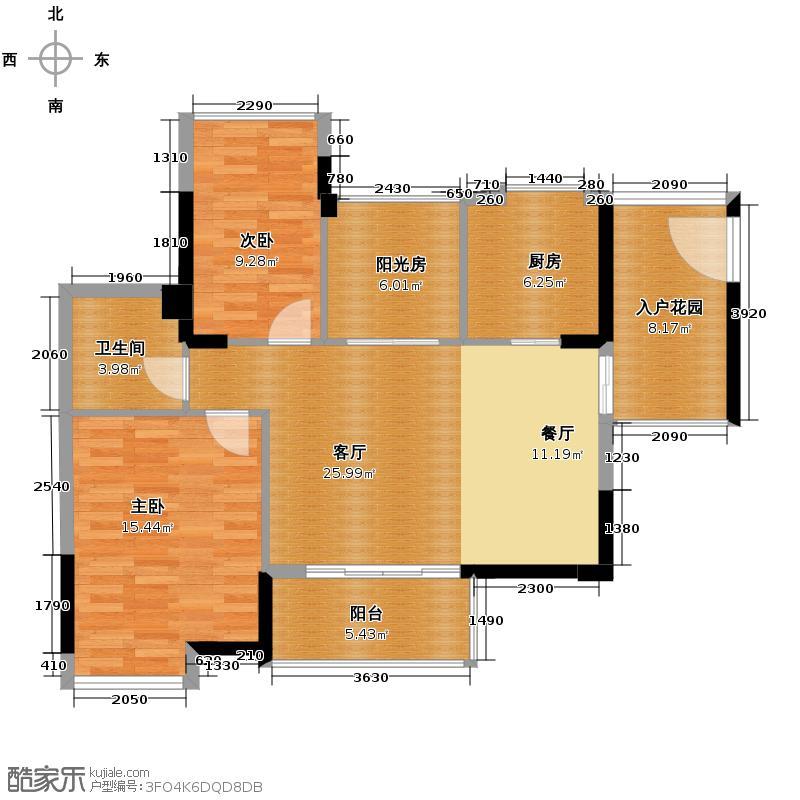 雅居乐都荟天地89.00㎡1/2栋02/05单位户型2室1厅1卫1厨