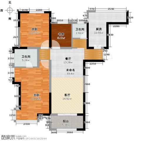 城建琥珀五环城3室2厅2卫0厨126.00㎡户型图