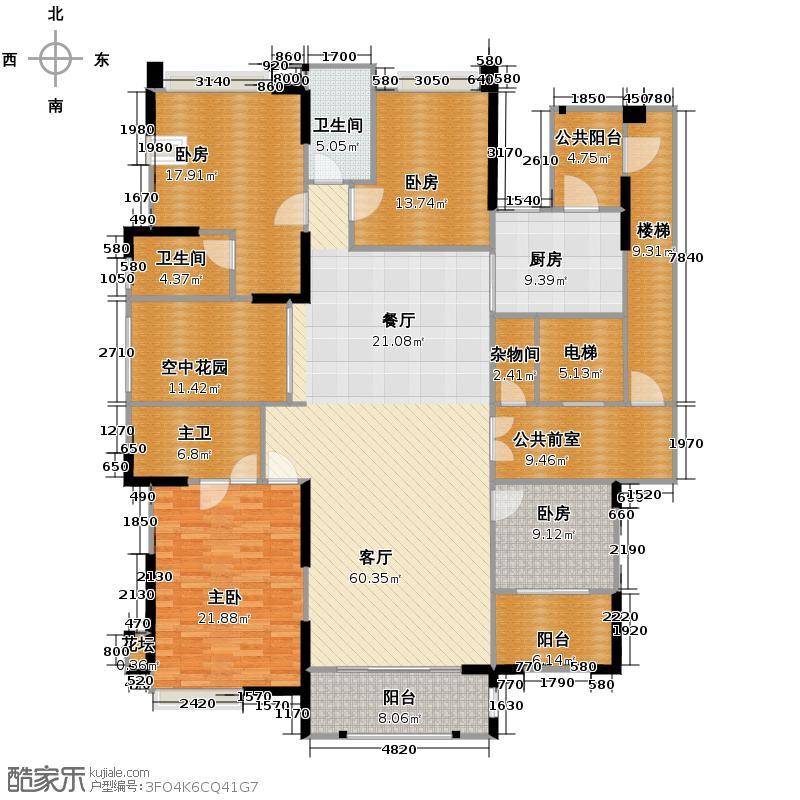 保利中央公馆213.00㎡4栋1梯01户型4室2厅3卫