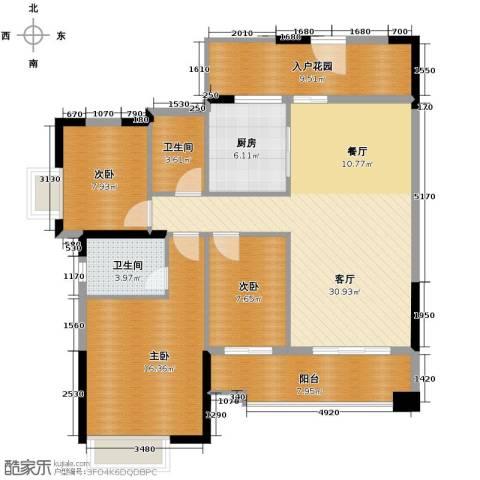 雅居乐都荟天地3室1厅2卫1厨121.00㎡户型图