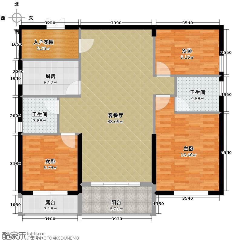 金港湾102.00㎡明悦居B户型3室1厅2卫1厨