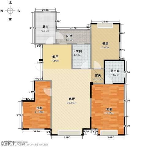 力旺美林3室1厅2卫1厨120.00㎡户型图