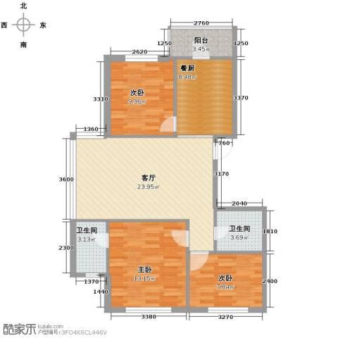 中北春城三期3室1厅2卫0厨75.00㎡户型图