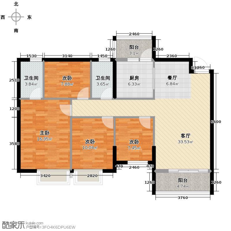 银汇华庭118.69㎡10/12座2-14层04单位户型4室2厅2卫