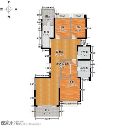 恒大华府3室1厅2卫1厨201.00㎡户型图