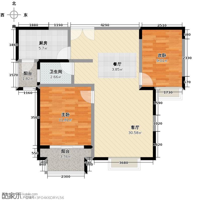 祥源广场84.26㎡3#楼B2户型2室2厅1卫
