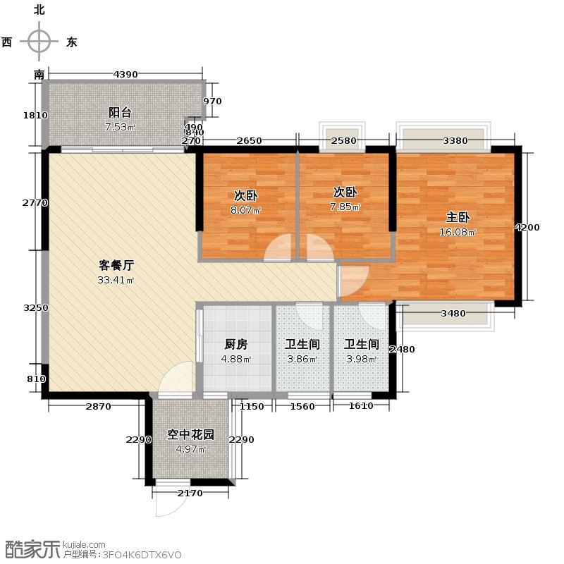 怡翠世嘉花园112.38㎡8座04单位户型3室1厅2卫1厨