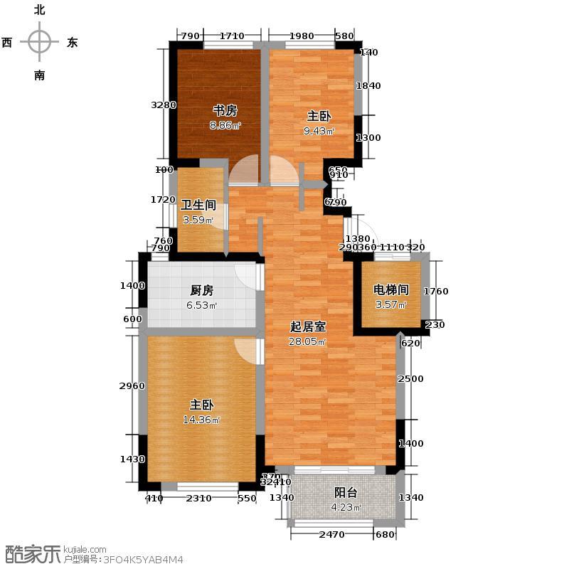 保利拉菲公馆95.00㎡瞰景高层E2户型3室1厅1卫