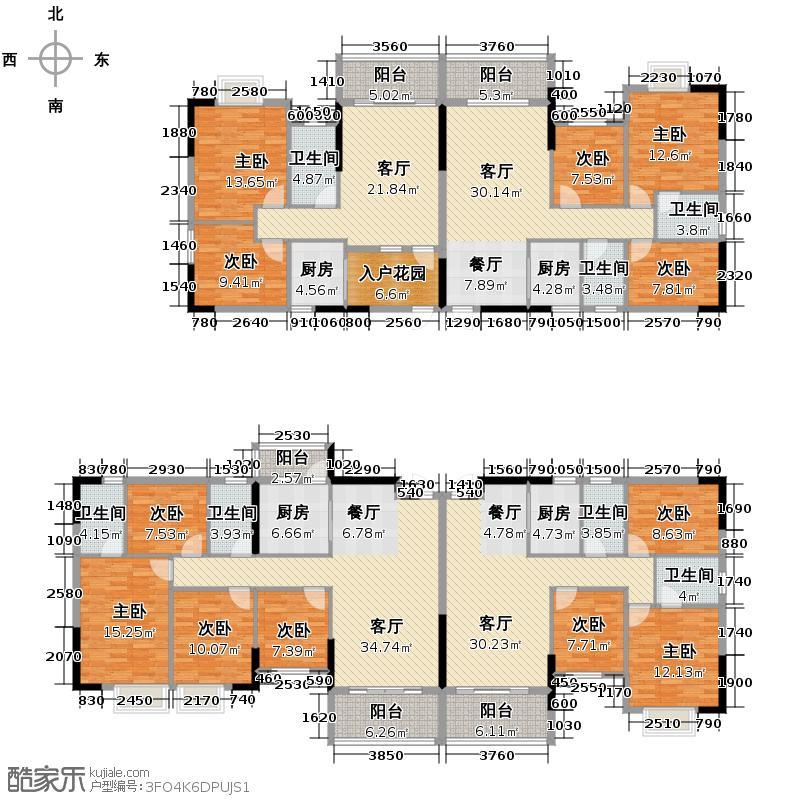 银汇华庭356.53㎡10/12座2-14层平面图户型10室