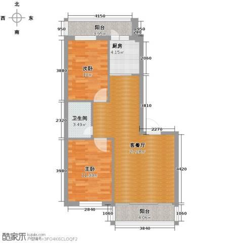中北春城2室1厅1卫1厨91.00㎡户型图