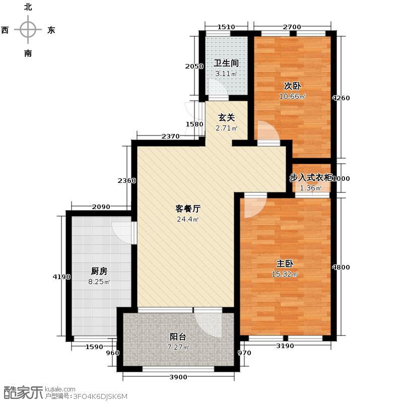 群力玫瑰湾4.00㎡G04/G06预测户型2室2厅1卫