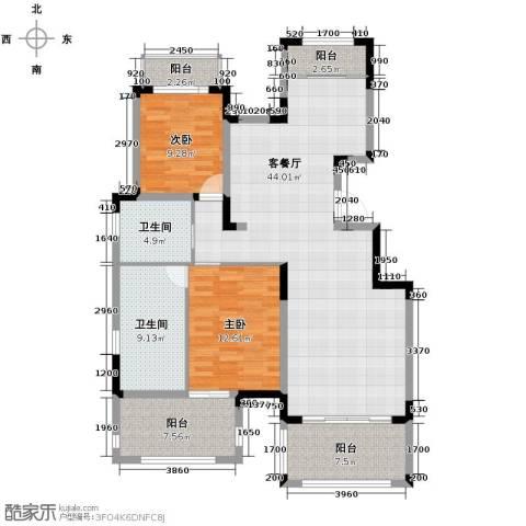 金泰・南燕湾2室2厅2卫0厨113.00㎡户型图