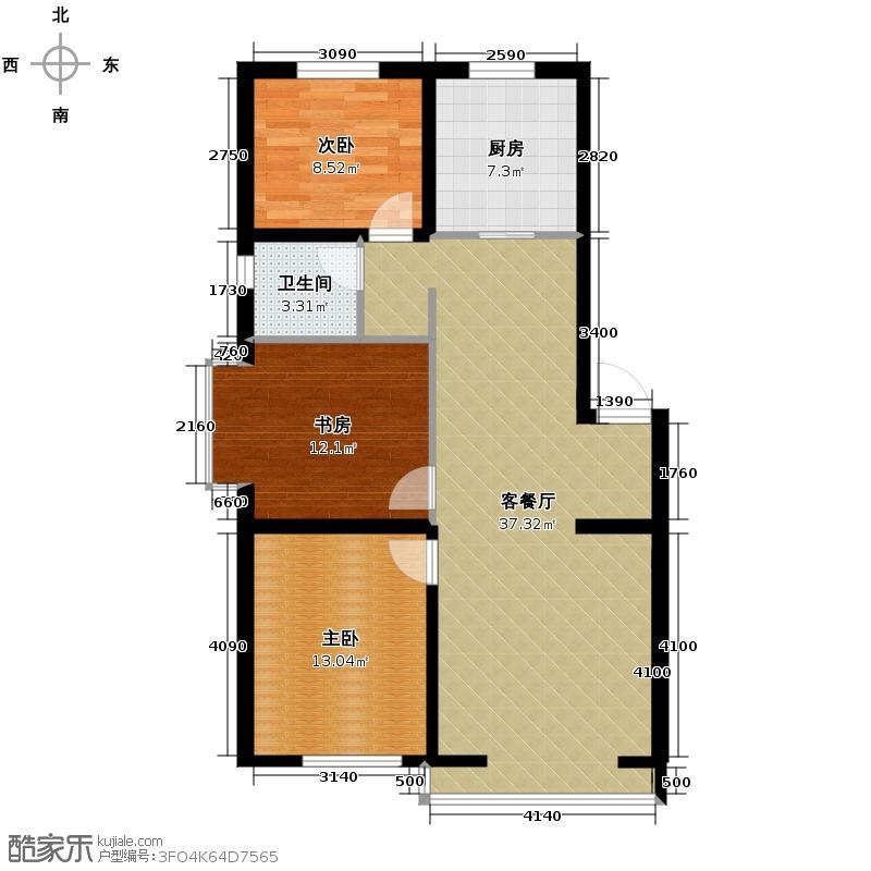漾日华庭101.62㎡F户型3室1厅1卫1厨