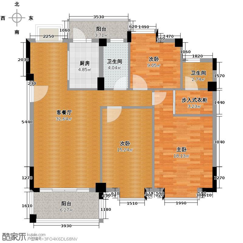 西堤国际花园121.79㎡1栋2、3座12栋1座02单位户型3室1厅2卫1厨