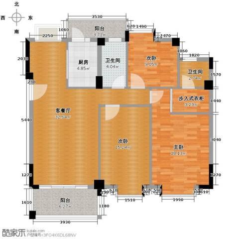 西堤国际花园3室1厅2卫1厨122.00㎡户型图