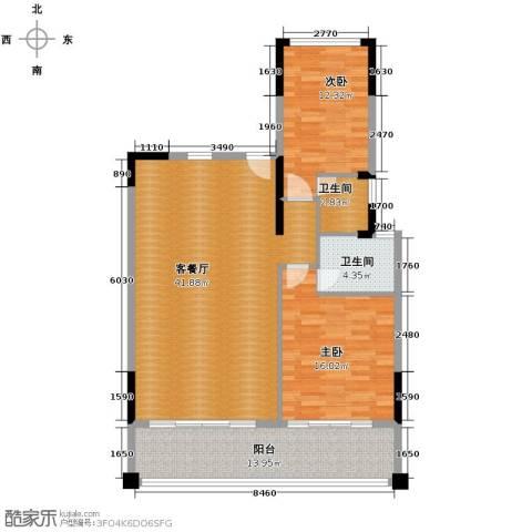海棠福湾一号2室2厅2卫0厨122.00㎡户型图
