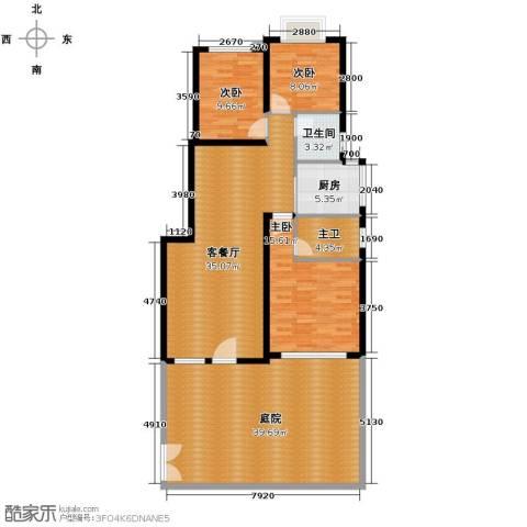 鸿坤・理想海岸3室2厅2卫0厨121.12㎡户型图