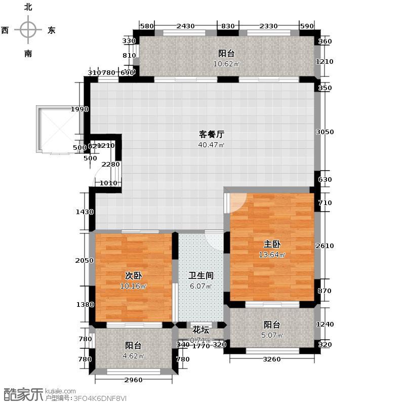 金泰・南燕湾107.00㎡洋房A2-2户型2室2厅1卫
