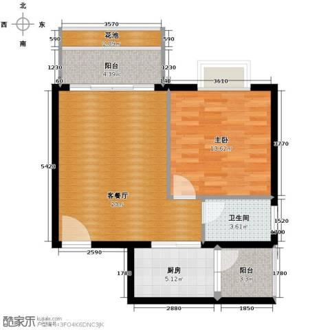 鸿坤・理想海岸1室2厅1卫0厨55.11㎡户型图