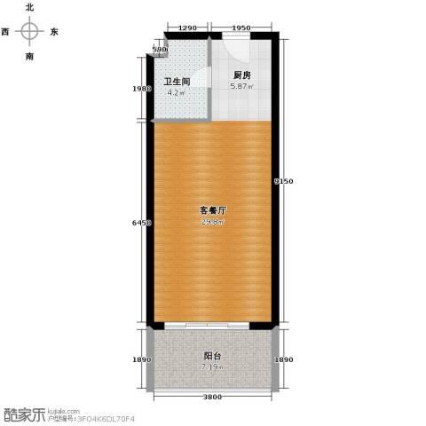 山海湾温泉家园43.00㎡户型图
