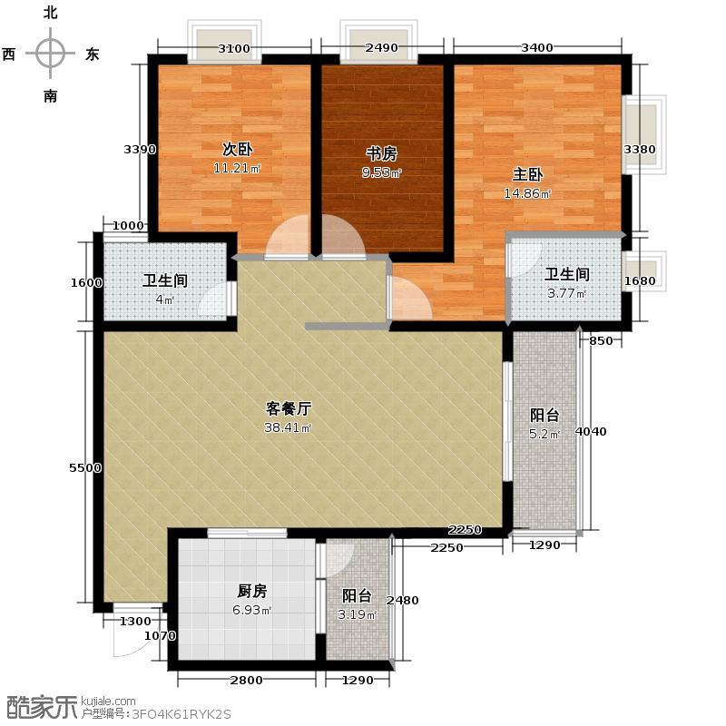 花果园131.29㎡F7户型3室1厅2卫1厨