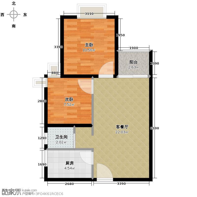 花果园66.52㎡A2户型2室1厅1卫1厨