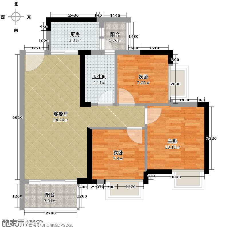 领地海纳公馆87.63㎡1栋/4栋01/02单位户型3室1厅1卫1厨