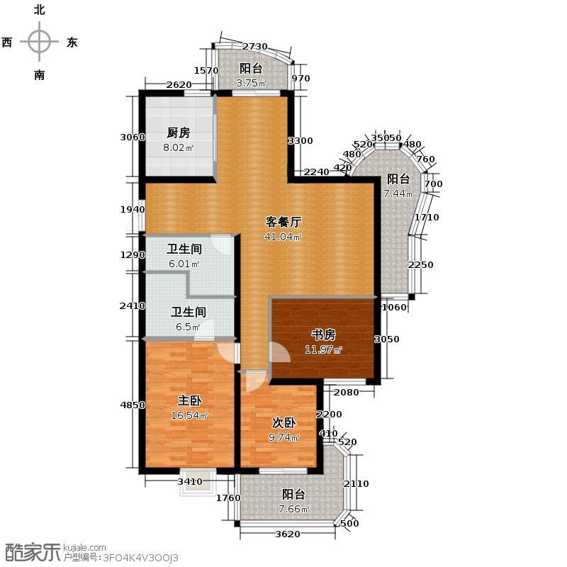 广厦天都城146.70㎡F1-j户型3室1厅2卫1厨