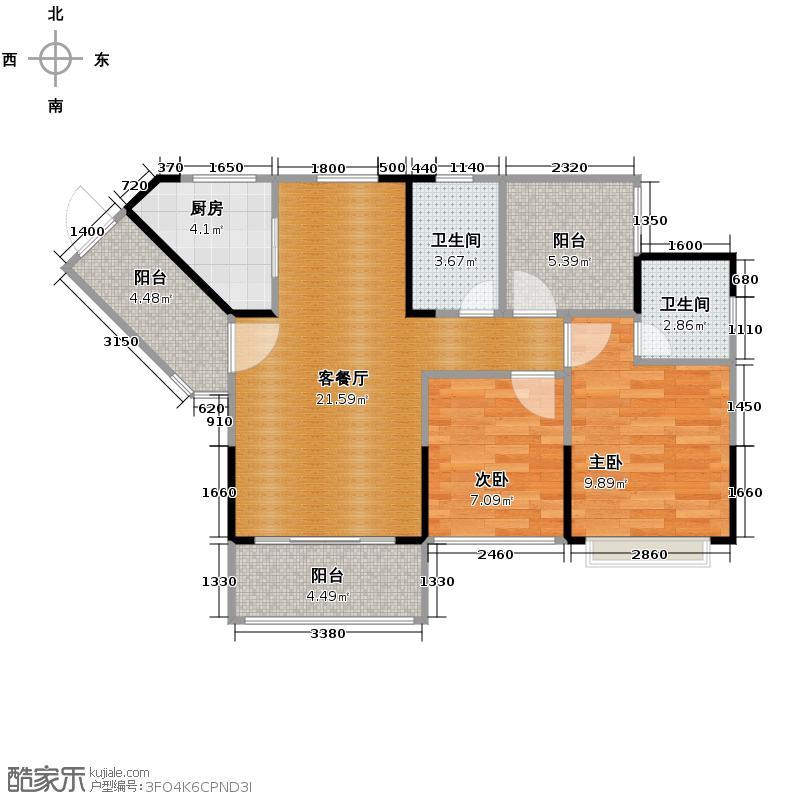柏悦华府85.11㎡2栋03单元户型3室2厅2卫