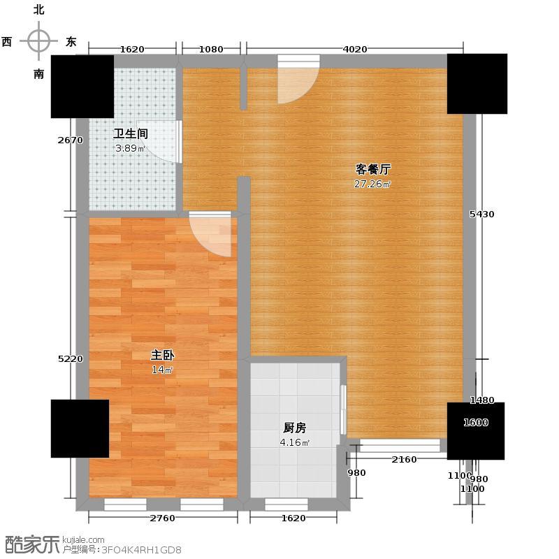 IBC中海国际83.00㎡E户型1室1厅1卫1厨