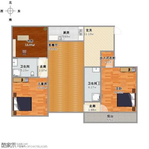 南岸花园3室1厅2卫1厨153.00㎡户型图