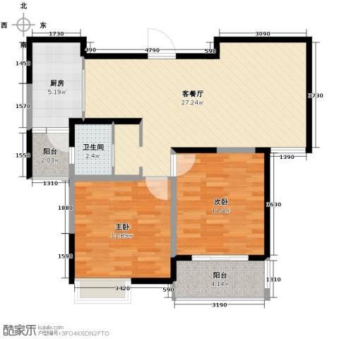 华菁水苑2室2厅1卫0厨82.00㎡户型图