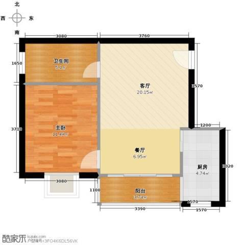 山海湾温泉家园45.17㎡户型图