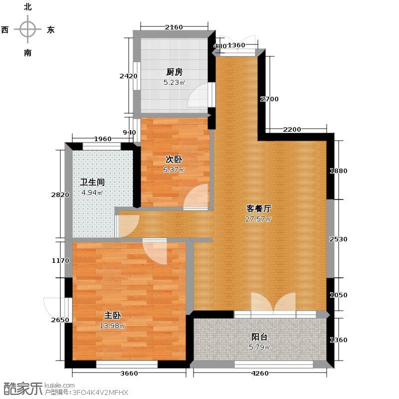 雪峰水岸枫庭87.91㎡B户型2室1厅1卫1厨