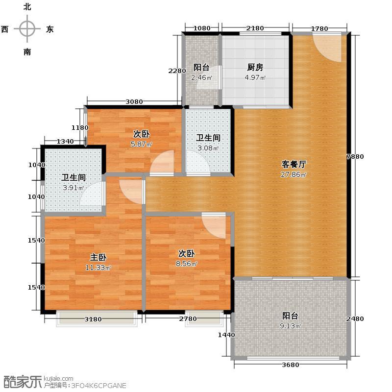 云山峰境花园90.00㎡二期3座02单位户型3室2厅2卫