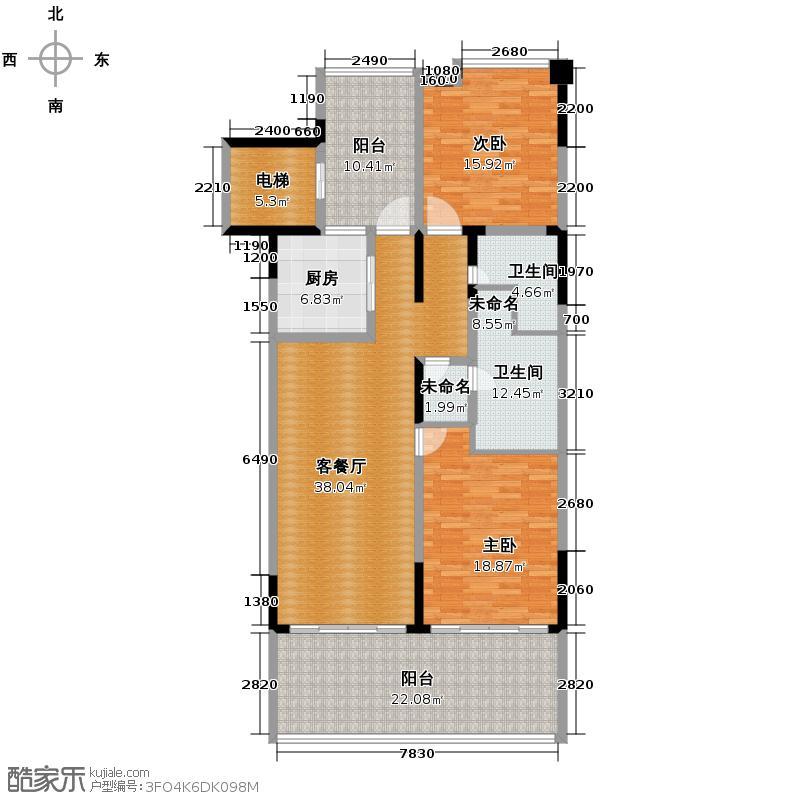合景・汀澜海岸124.00㎡公寓C户型2室2厅2卫