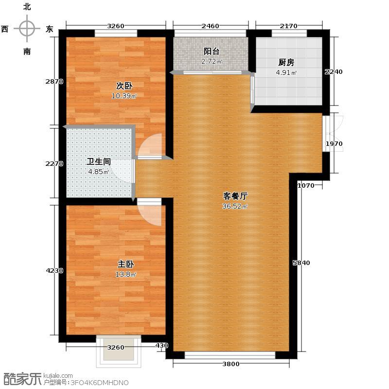 恒盛豪庭72.79㎡二居户型10室