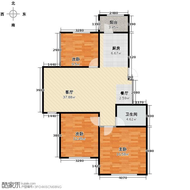 海富锦园90.04㎡M户型3室1厅1卫