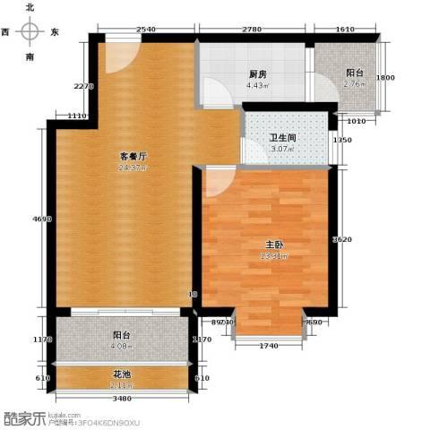 鸿坤・理想海岸1室2厅1卫0厨56.00㎡户型图
