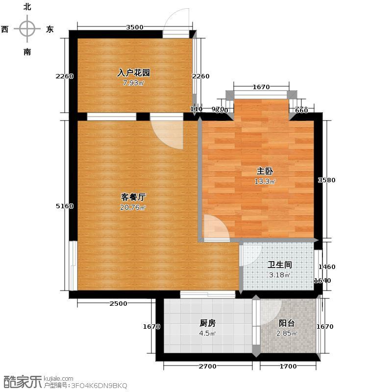 鸿坤・理想海岸58.21㎡A4平面图户型1室2厅1卫