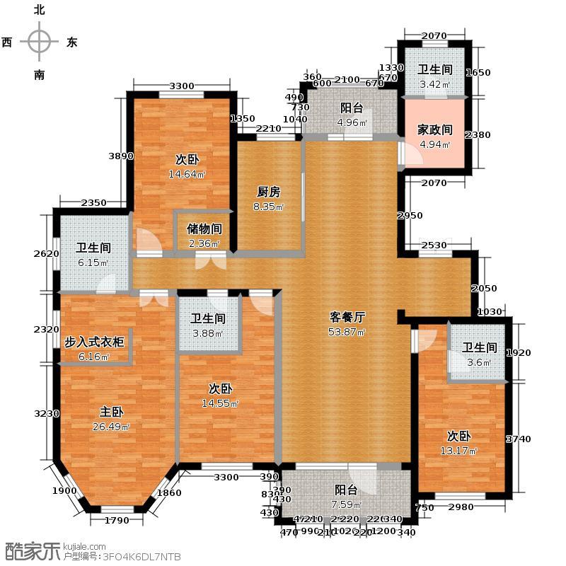 群力玫瑰湾8.00㎡D08/D09预测户型4室2厅4卫